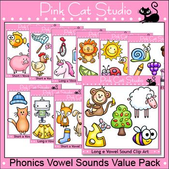 Vowel Sounds Clip Art Value Pack - Long Vowels and Short Vowels