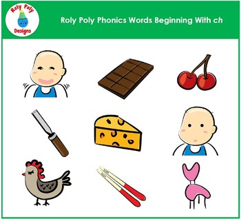 Words Beginning With CH Phonics Clip Art by Roly Poly Designs