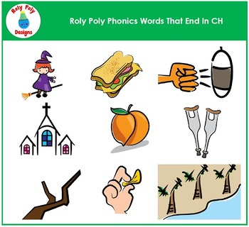 Words Ending In CH Phonics Clip Art by Roly Poly Designs