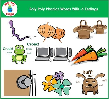 Words With S Endings Phonics Clip Art by Roly Poly Designs