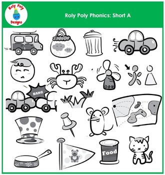 Short A Vowel Phonics Clip Art by Roly Poly Designs