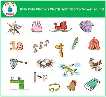 Short E Vowel Phonics Clip Art by Roly Poly Designs