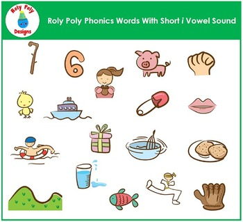 Short I Vowel Phonics Clip Art by Roly Poly Designs
