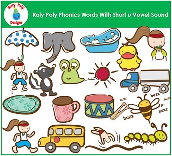 Short U Vowel Clip Art by Roly Poly Designs