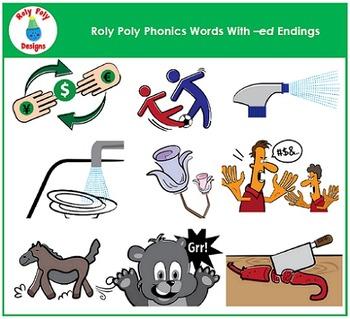 Phonics Clip Art -ed Endings Bundle by Roly Poly Designs