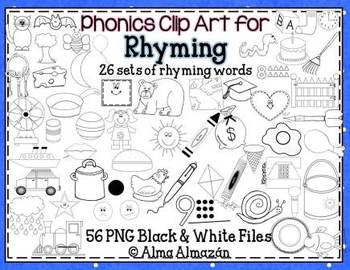 Clip Art for Rhyming Black and White Set Phonological Awareness