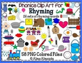 Clip Art for Rhyming Large Colored Set Phonological Awareness
