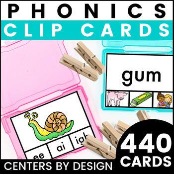 Centers by Design: Phonics Clip Cards BUNDLE