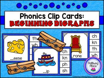 Phonics Clip Cards: Beginning Digraphs