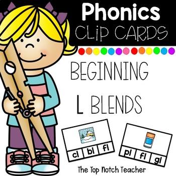 Phonics Clip Cards Beginning L Blends Low Prep