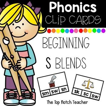 Phonics Clip Cards Beginning S Blends Low Prep