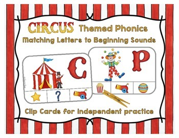 Phonics Clip Cards - Circus Theme