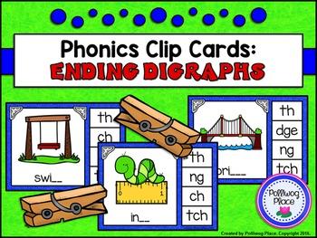Phonics Clip Cards: Ending Digraphs