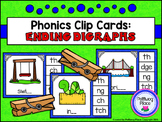 Phonics Clip Cards: Ending Digraphs