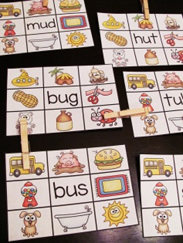 Phonics Clip Cards Centers MEGA GROWING BUNDLE