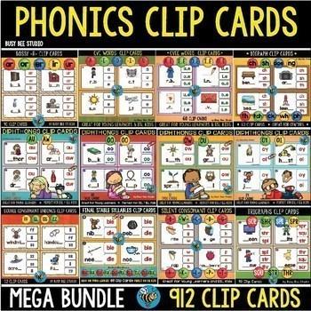 Phonics Centers | Phonics Clip Cards Mega Bundle