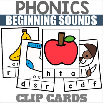 Phonics Clip Cards for Beginning Sounds Ending Sounds and Medial Vowels Bundle