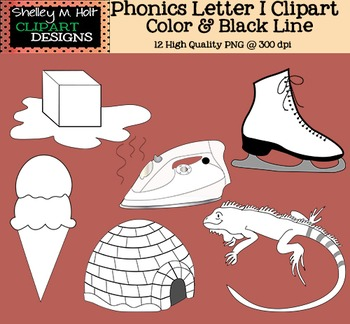 Phonics Clipart - Letter I - Color and Black line