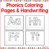 Alphabet Picture Phonics Coloring Pages and Handwriting