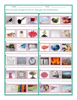 Phonics Consonant Blend BL Photo Worksheet
