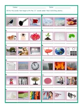 Phonics Consonant Blend CL Photo Worksheet