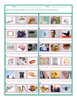 Phonics Consonant Blend DR Photo Worksheet