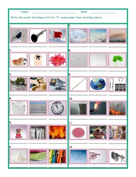 Phonics Consonant Blend FL Photo Worksheet