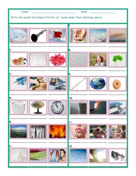 Phonics Consonant Blend GL Photo Worksheet