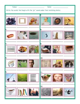 Phonics Consonant Blend GR Photo Worksheet
