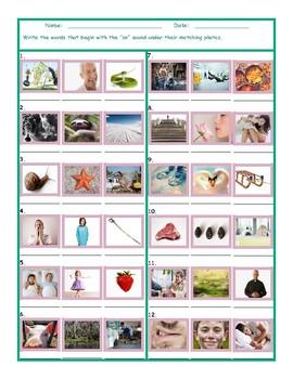 Phonics Consonant Blend SN Photo Worksheet