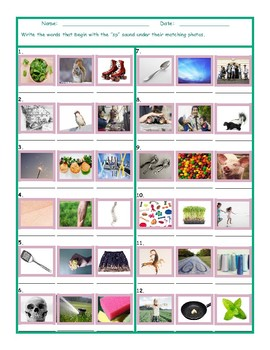 Phonics Consonant Blend SP Photo Worksheet