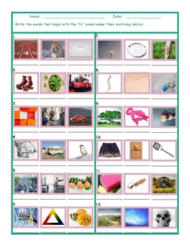 Phonics Consonant Blend TR Photo Worksheet