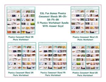 Phonics Consonant Blends BR-CR-DR-FR-GR 5 Worksheet Bundle