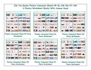 Phonics Consonant Blends SM-SN-SW-SL-PR-ST 6 Worksheet Bundle Cover Page