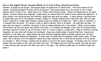 Phonics Consonant Blends bl-cl-fl-gl-pl Photo Checkerboard Game