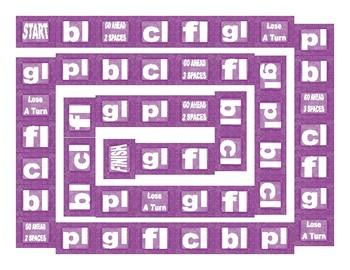 Phonics Consonant Blends bl-cl-fl-gl-pl Text Board Game