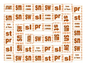 Phonics Consonant Blends sm-sn-sw-sl-pr-st Text Board Game