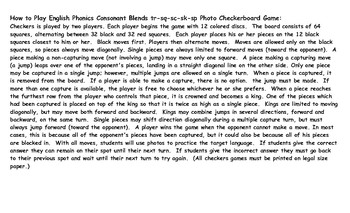 Phonics Consonant Blends tr-sq-sc-sk-sp Photo Checkerboard Game