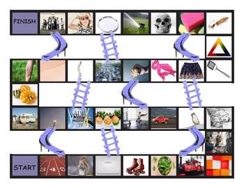 Phonics Consonant Blends tr-sq-sc-sk-sp Photo Chutes-Ladders Game