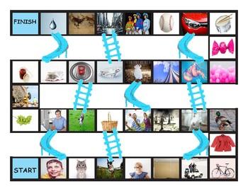 Phonics Consonant Letters b-c(k)-c(s)-d-g-j Photo Chutes-Ladders Game