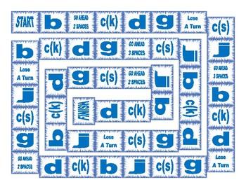 Phonics Consonant Letters b-c(k)-c(s)-d-g-j Text Board Game