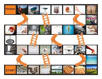 Phonics Consonant Letters f-s-k-l-p-t Photo Chutes-Ladders Game