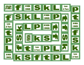 Phonics Consonant Letters f-s-k-l-p-t Text Board Game