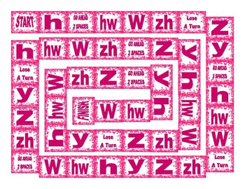 Phonics Consonant Letters h-hw-w-zh-z-y Text Board Game