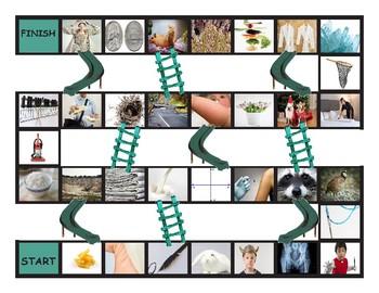 Phonics Consonant Letters m-n-q-r-v-x Photo Chutes-Ladders Game