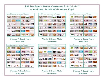 Phonics Consonants F-S-K-L-P-T 6 Worksheet Bundle