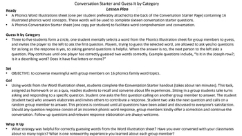 Phonics Conversation Starters for the -UFF, -AY, -ISS and –OD Word Families