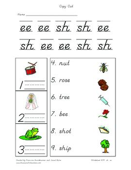 Phonics - Copy Cat worksheet #54 (sh, ee)