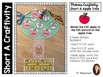 Short Vowel A: A Phonics Craftivity Apple Tree
