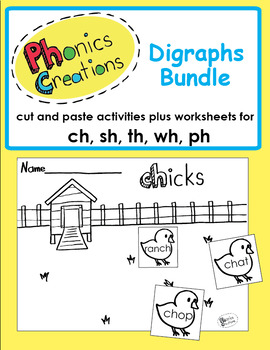Phonics Creations digraph bundle sh, ch, th, ph, wh